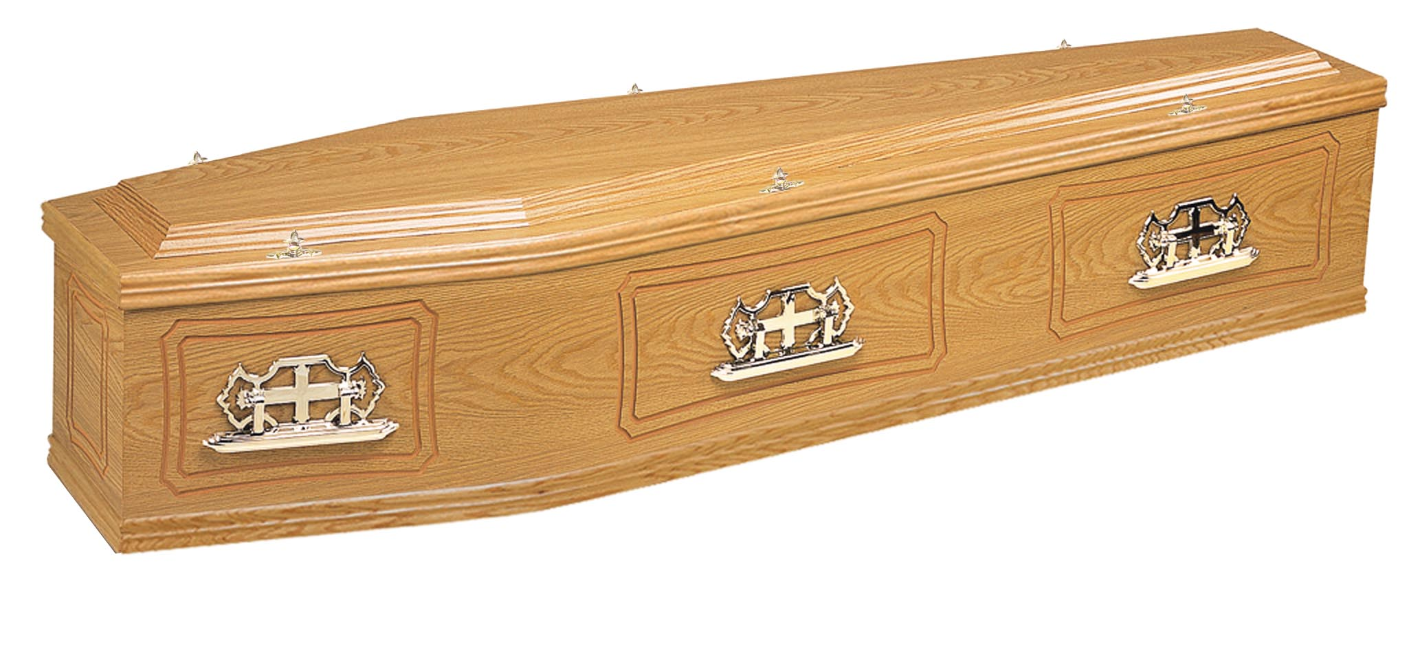 Traditional rookwood oak pencil panelled coffin